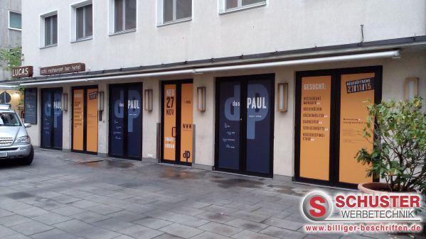 Fensterbeschriftung mit Digitaldruck während Umbau / Renovierung, Das Paul, Nürnberg