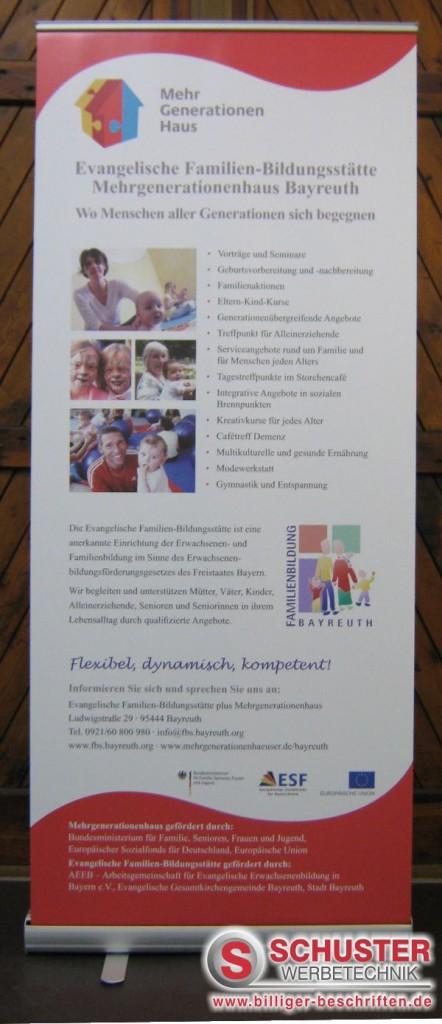 Rollup-Display mit Digitaldruck, Mehrgenerationenhaus, Bayreuth