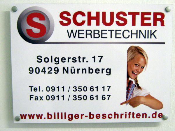 Schuster Werbetechnik - Firmenschild mit Digitaldruck
