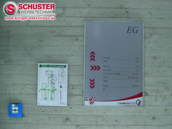 Hinweisschilder für die Orientierung in Bürogebäude, Schule, Behörde, Klinik usw.