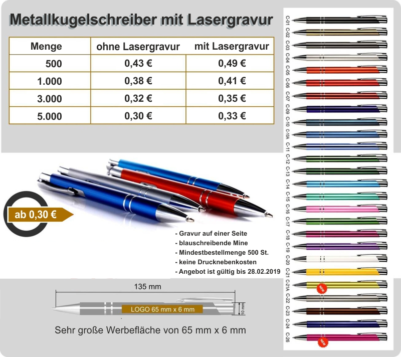 Metallkugelschreiber mit Lasergravur in 16 Farben