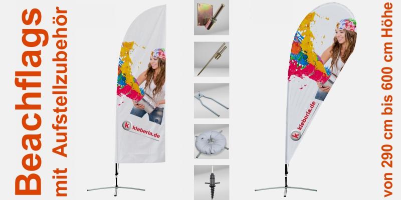 Beachflags in vielen Formen und Größen. Mit unterschiedlichem Zubehör zum Aufstellen im Innen- und Außenbereich.