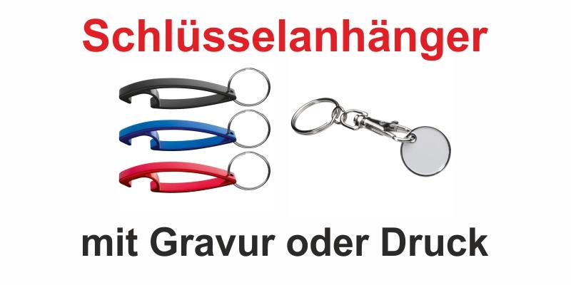 In unserem Sortiment finden Sie Schlüsselanhänger in vielen verschiedenen Variationen. Aus Metall, mit Einkaufswagenchip oder als Flaschöffner. Oder als schickes Accessoire für Ihre Kunden.